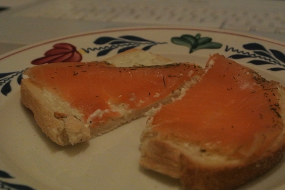 Mmmm, toast met zalm en kruidenboter...